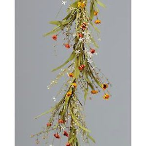 Other - Warm Daisies and Grasses Faux 5 ft Garland